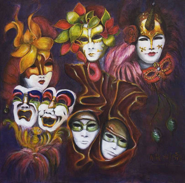 Masks Poster featuring the painting Making Faces I by Nik Helbig