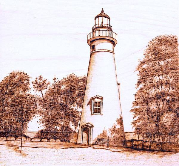 Lighthouse Poster featuring the pyrography Marblehead Lighthouse by Danette Smith