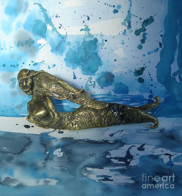 Mermaid Poster featuring the painting Mermaid With Sea Spray By Nanzy by Eric Singleton