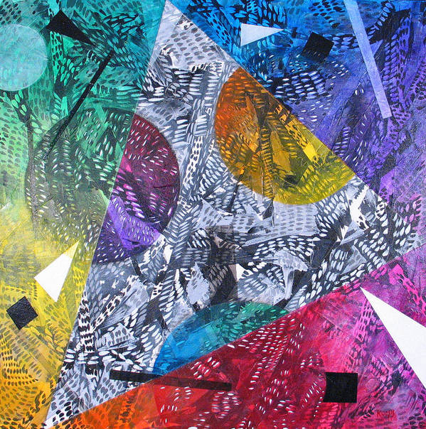 Geometric Poster featuring the painting Microcosm XX by Rollin Kocsis