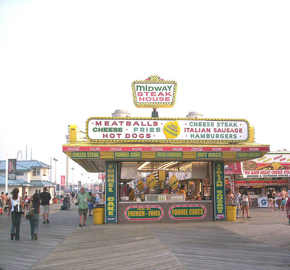 Nj Poster featuring the photograph Midway Steak House - The Boardwalk At Seaside by Bob Palmisano