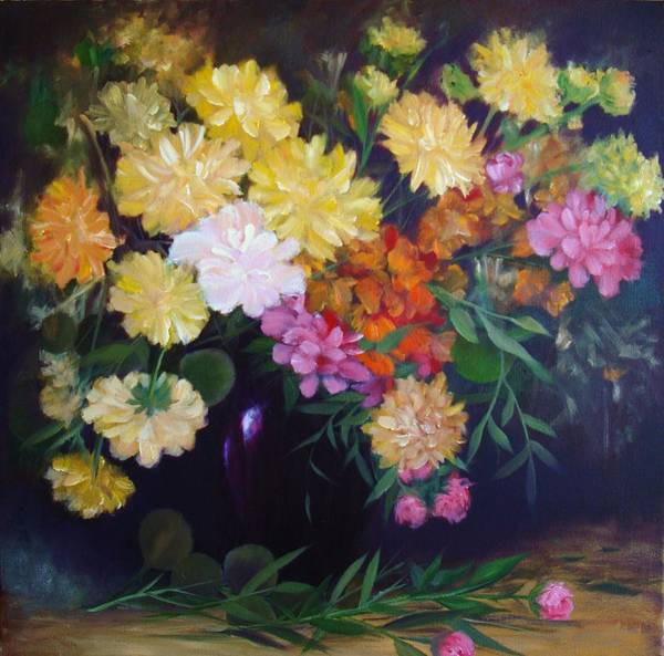Painting Of Flowers Poster featuring the painting Mixed Flowers by Thuthuy Tran