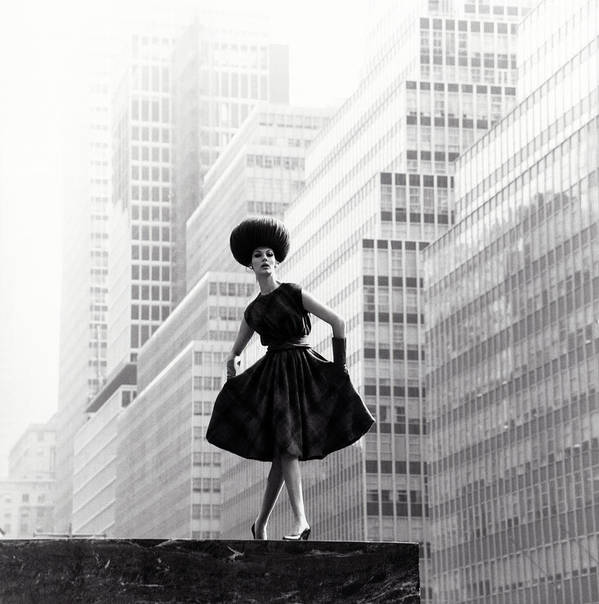 New York City Poster featuring the photograph Model Wearing Lilly Dache Hat In New York City by Horst P Horst