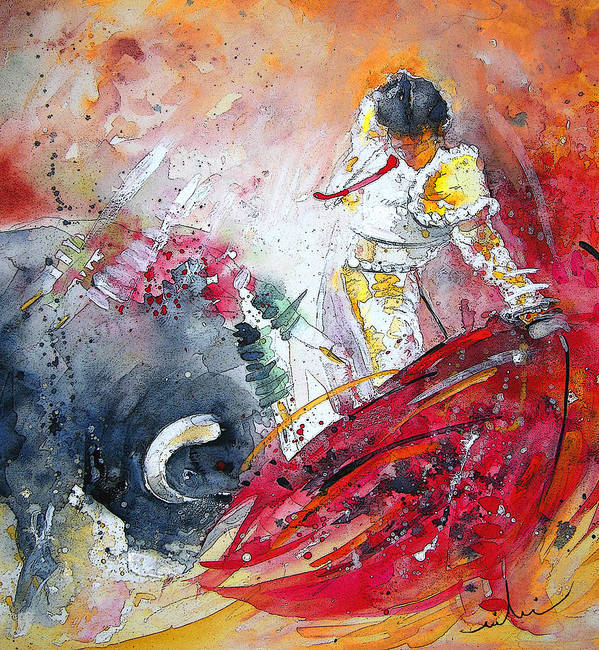 Watercolour Poster featuring the painting Moment Of Truth 2010 by Miki De Goodaboom