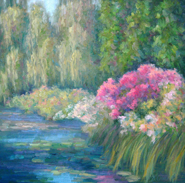 Pond Poster featuring the painting Monet's Pond by Bunny Oliver
