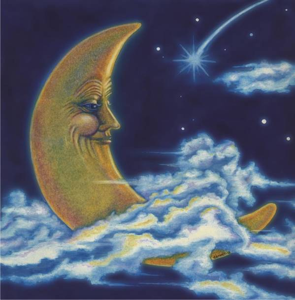 Moon Poster featuring the drawing Moon Man by Stephanie Brown
