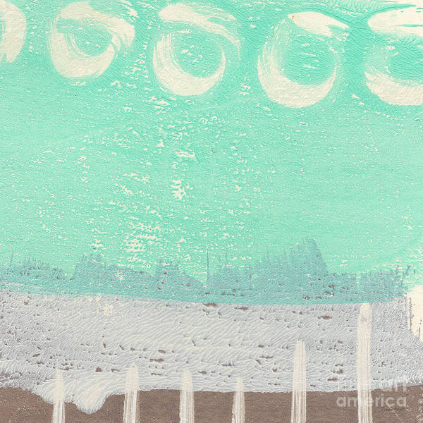 Abstract Poster featuring the painting Moon Over The Sea by Linda Woods