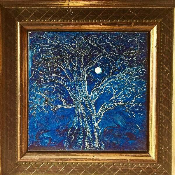 Etching Poster featuring the painting Moonlit tree by Karen Doyle