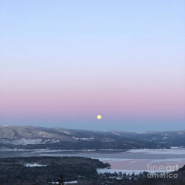Moon Poster featuring the photograph Moonset over Mountains and the Lake by Christine Segalas