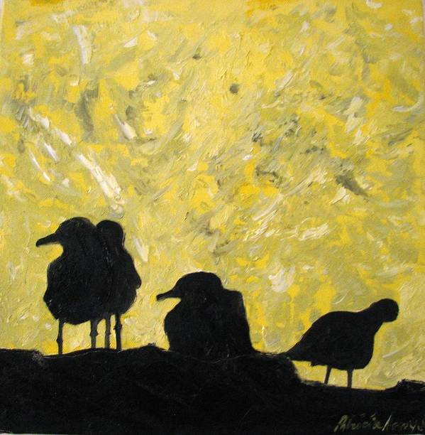 Birds Poster featuring the painting Morning Birds by Patricia Arroyo