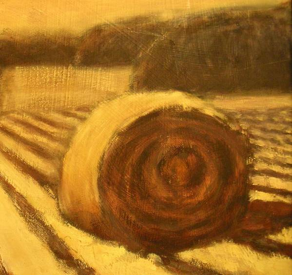 Art Sale Poster featuring the painting Morning Haybale by Jaylynn Johnson
