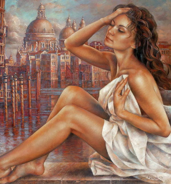 Nude Poster featuring the painting Morning In Venice by Arthur Braginsky