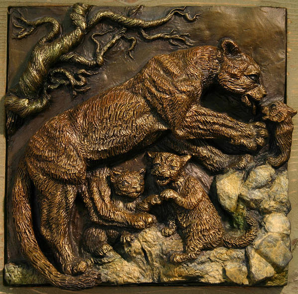 Miniature Poster featuring the sculpture Mountain Lion Mother With Cubs by Dawn Senior-Trask