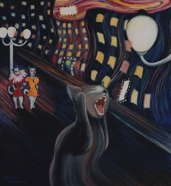 Funny Cat Art Poster featuring the painting Munch's Cat--the Scream by Eve Riser Roberts