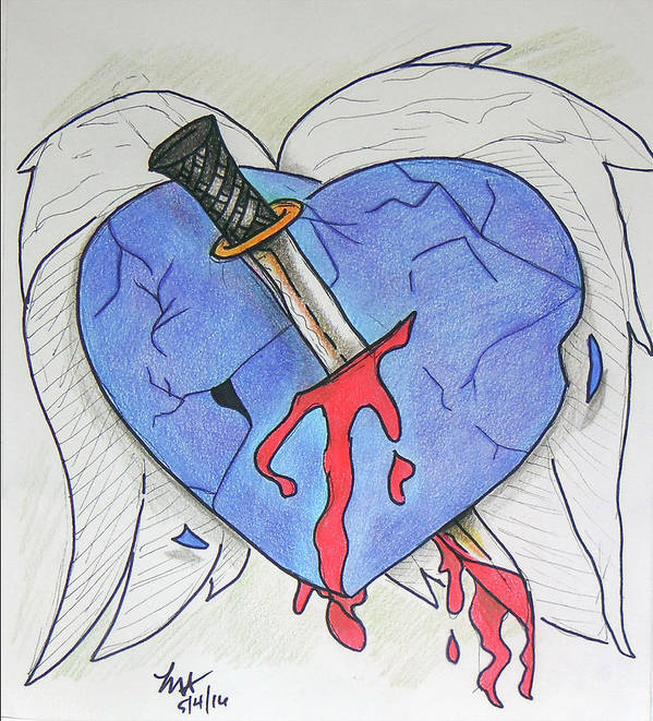 Heart Poster featuring the drawing Murdered Soul by Loretta Nash