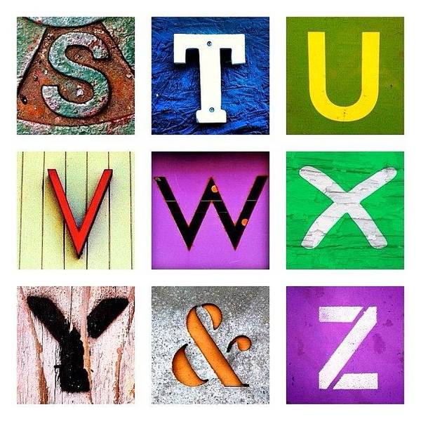 Alphabet Letters Poster featuring the photograph my own alphabet S to Z by Julie Gebhardt