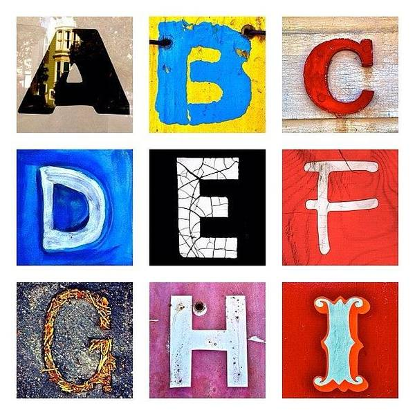 Alphabet Letters Poster featuring the photograph myownalphabet A to I by Julie Gebhardt