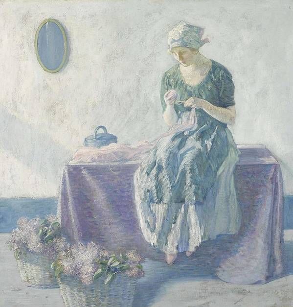 Girl Poster featuring the painting Myron G. Barlow 1873 - 1937 Peasant Sewing by Myron G Barlow