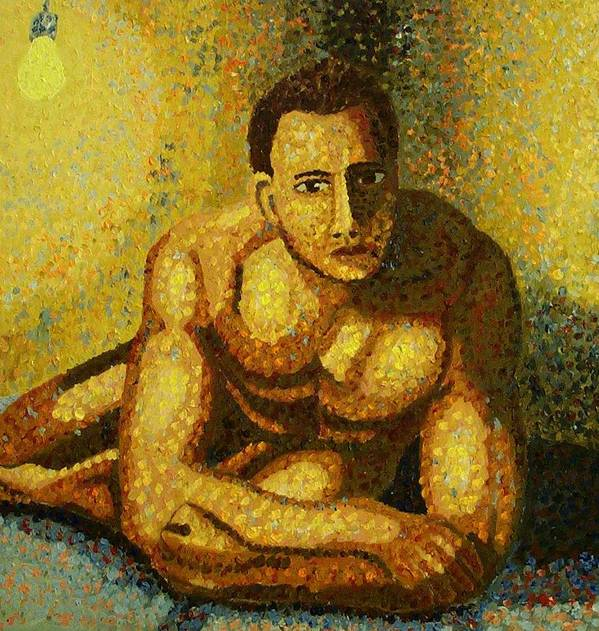 Nude Poster featuring the painting Naked by Mats Eriksson