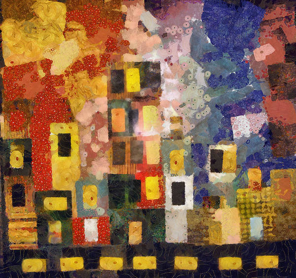 Cityscape Poster featuring the digital art Night City by Michelle Calkins
