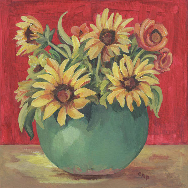 Still Life Poster featuring the painting Not Just Sunflowers by Cheryl Pass