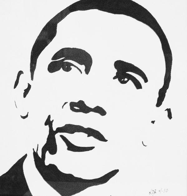 Barak Obama Poster featuring the drawing Obama by Kenneth Regan