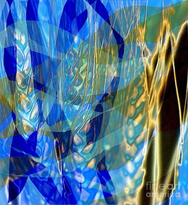 Abstract Poster featuring the painting Ocean Girl With Golden Wheats by Navo Art