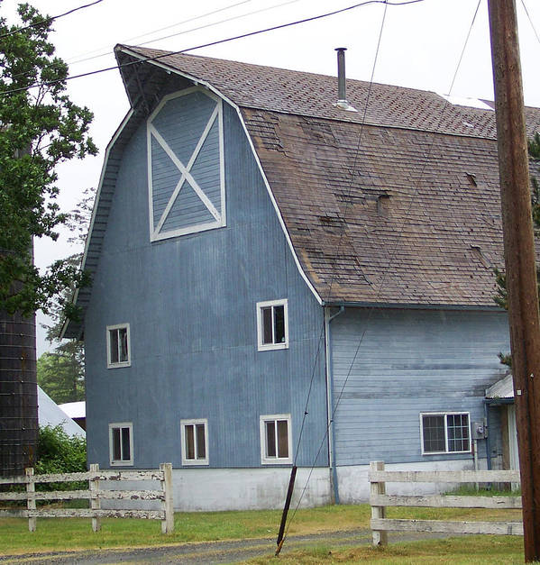 Old Poster featuring the photograph Old Blue Barn Littlerock Washington by Laurie Kidd
