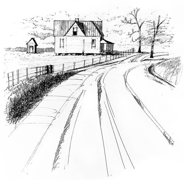 Landscape Poster featuring the drawing On The County Line by Peter Muzyka