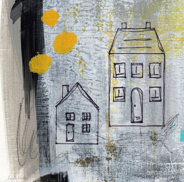 Abstract Poster featuring the painting On The Same Street by Linda Woods