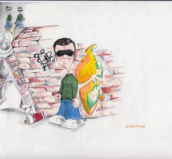 Justin Hiatt Poster featuring the drawing On Top Of The World by Justin Hiatt