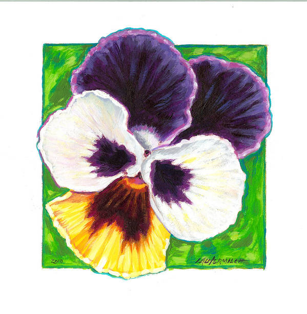 Pansy Poster featuring the painting One Pansy For Marti by John Lautermilch