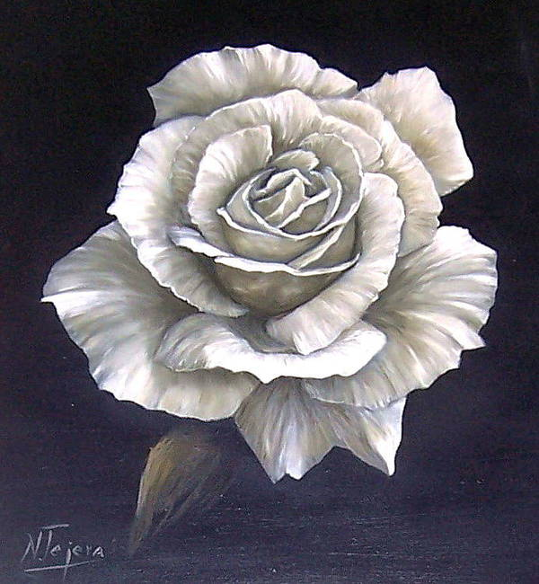 Rose Flower Poster featuring the painting Opened Rose by Natalia Tejera