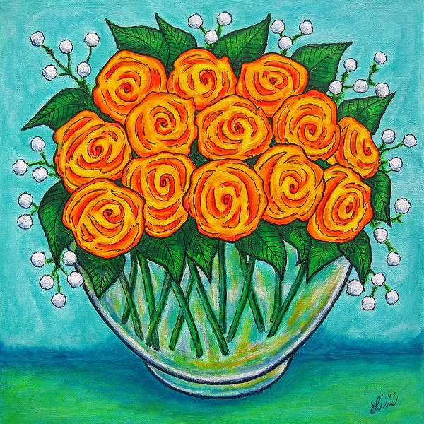 Orange Poster featuring the painting Orange Passion by Lisa Lorenz