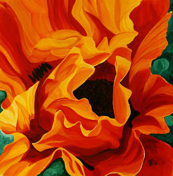 Flower Poster featuring the painting Orange Poppy by Julie Pflanzer