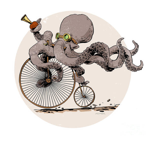 Octopus Poster featuring the digital art Otto's Sweet Ride by Brian Kesinger