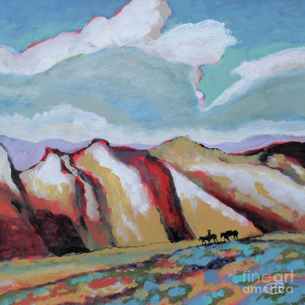Colorful Poster featuring the painting Over The Mountains by Kip Decker