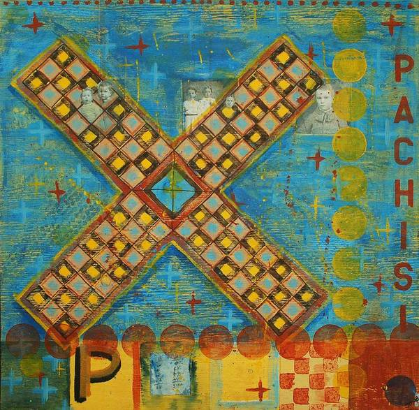 Games Poster featuring the painting Pachisi by Judy Anderson