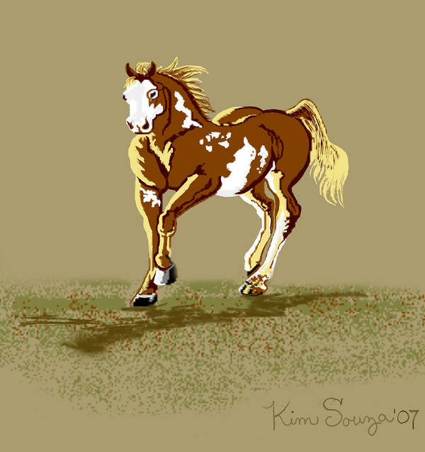 Horses Poster featuring the digital art Paint Horse by Kim Souza