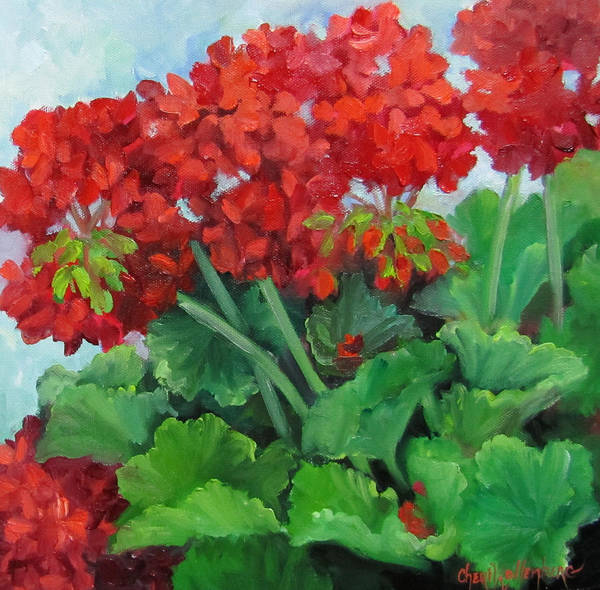 Geraniums Poster featuring the painting Painting Of Red Geraniums by Cheri Wollenberg