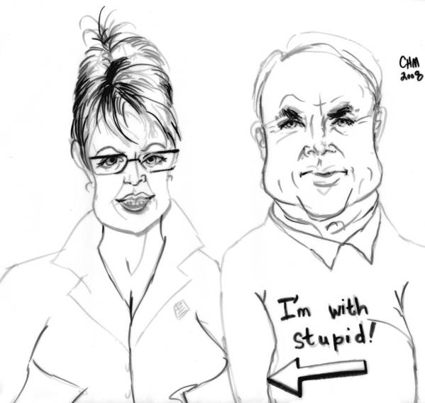 Political Cartoon Satire President Poster featuring the drawing Palin And Mccain What A Pair by Cartoon Hempman