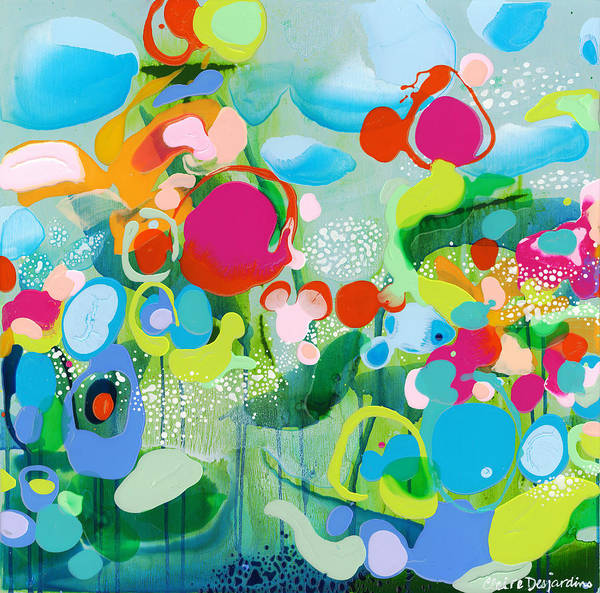 Abstract Poster featuring the painting Paradise Outer Limits by Claire Desjardins