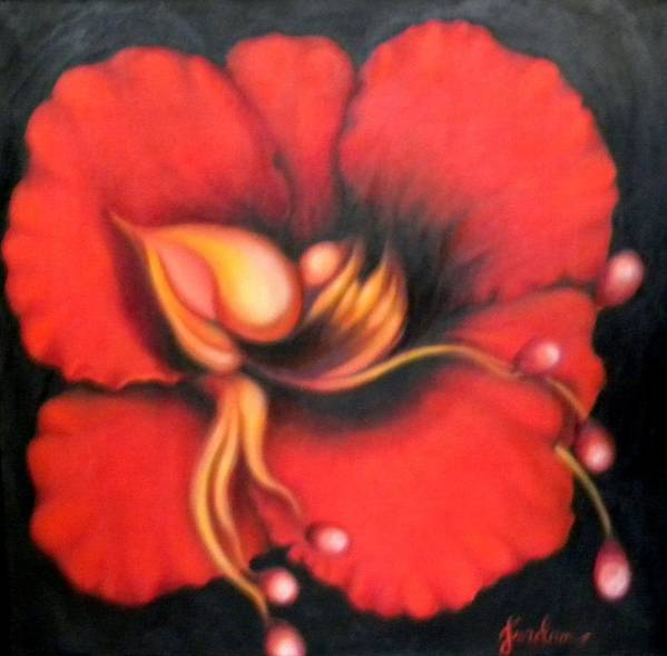 Red Surreal Bloom Artwork Poster featuring the painting Passion Flower by Jordana Sands