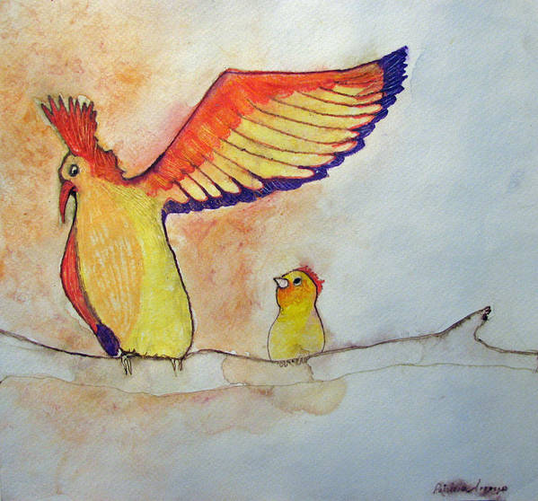Birds Poster featuring the painting Pay Attention Kid by Patricia Arroyo