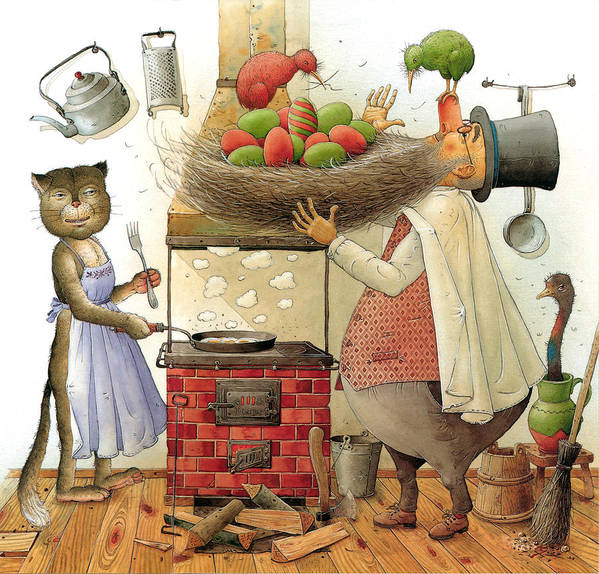 Cat Nest Eggs Kiwi Breakfast Kitchen Poster featuring the painting Pearman And Cat by Kestutis Kasparavicius
