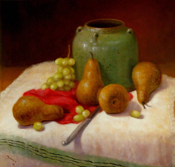 Realism Poster featuring the painting Pears And Grapes by Donelli DiMaria
