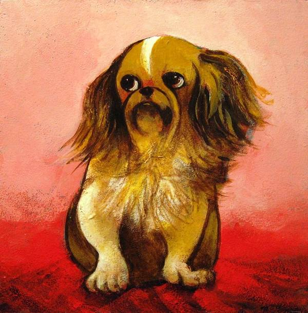 Dog Poster featuring the painting Pekinese by Christine McGinnis