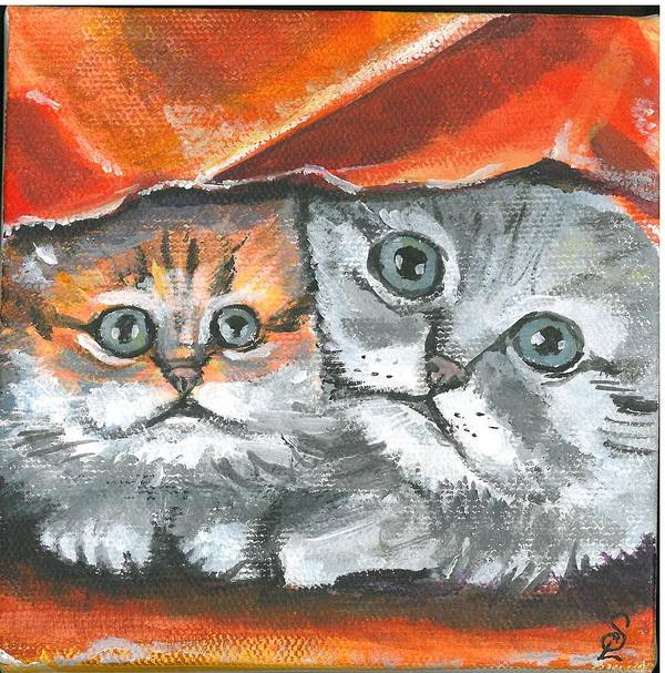Mini Paintings Poster featuring the painting Pet Portraits-two Kitties by Sarah Lowe