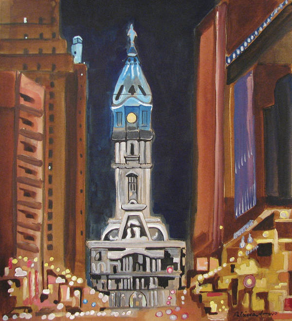 Landmarks Poster featuring the painting Philadelphia City Hall by Patricia Arroyo