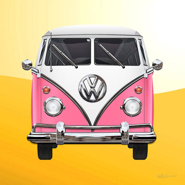 'volkswagen Type 2' Collection By Serge Averbukh Poster featuring the photograph Pink and White Volkswagen T 1 Samba Bus on Yellow by Serge Averbukh